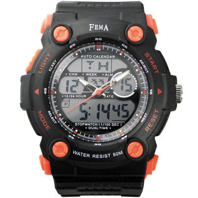 FEMA 強悍時尚 計時鬧鈴 雙顯運動錶(P367)-黑/48mm