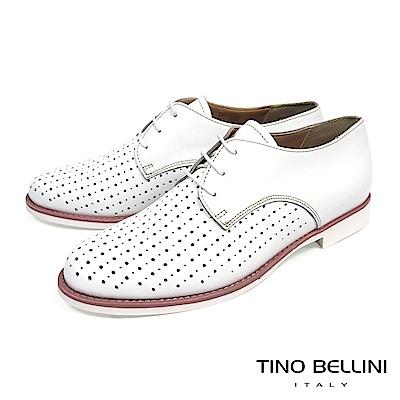 Tino Bellini 義大利進口大小沖孔綁帶紳士鞋_ 白