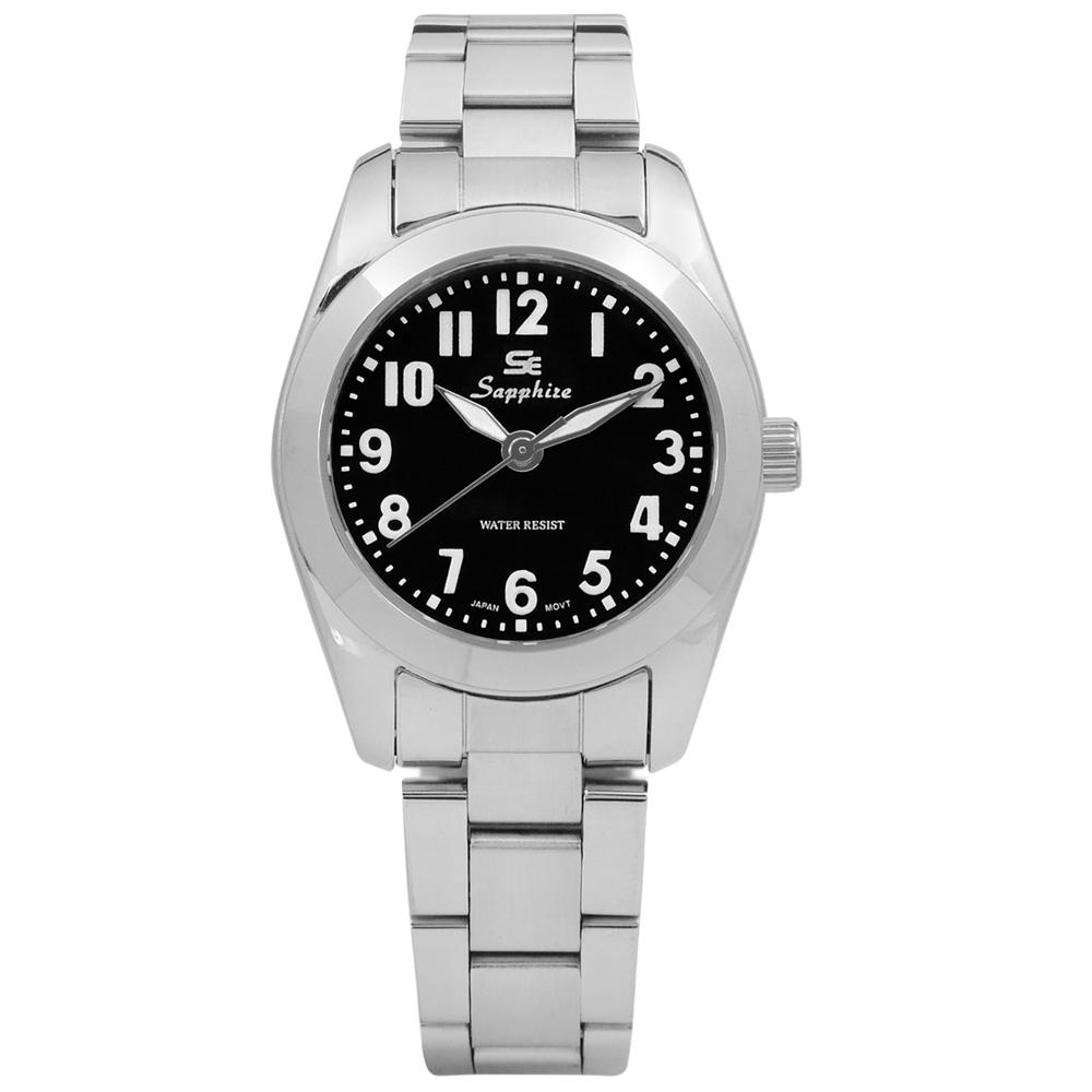Sapphire 簡潔大方夜光藍寶石水晶不鏽鋼手錶-黑色/29mm