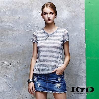IGD英格麗 圓領銀蔥條紋上衣