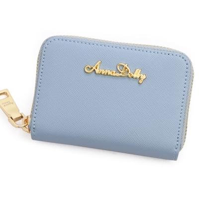 ANNA DOLLY 防刮牛皮零錢夾 Leather系列 冰心藍