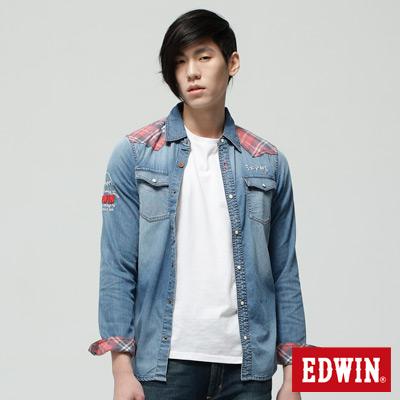 EDWIN-襯衫-江戶勝限量-剪接格紋牛仔長袖襯衫-男-漂淺藍