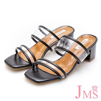 JMS-透明皮革滾邊一字帶粗跟涼拖鞋-黑色