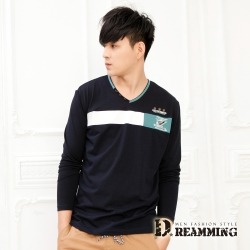 Dreamming 釦飾拼色萊卡彈力長袖V領T-共二色
