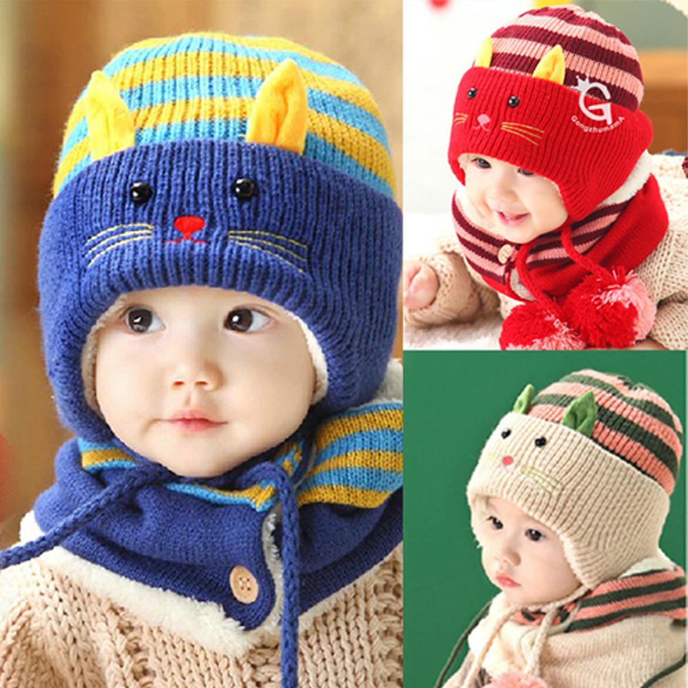 韓版-小貓咪兒童保暖帽組