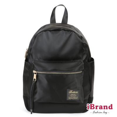 iBrand 韓系輕時尚口袋尼龍後背包-黑
