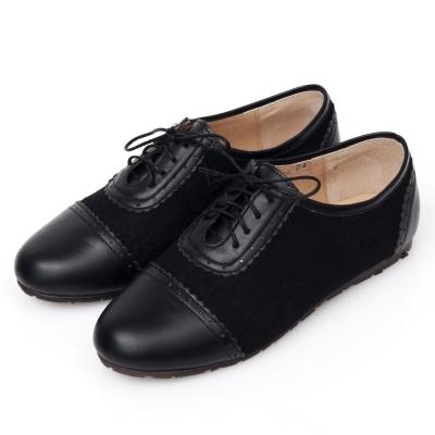 G.Ms.MIT系列-蕾絲雕花沖孔綁帶牛津鞋-經典黑