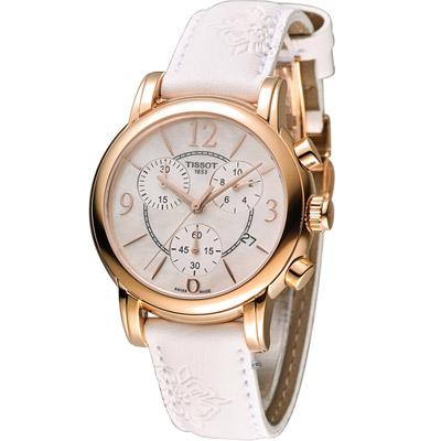 TISSOT 天梭 Dressport 綻放時尚計時運動腕錶-玫瑰金框/35mm