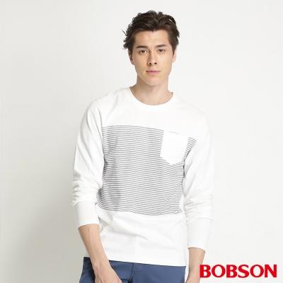 BOBSON 男款合身版印圖長袖上衣(白80)