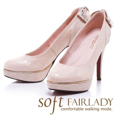 Fair Lady  Soft芯太軟 夜宴水鑽蝴蝶結高跟鞋 香檳