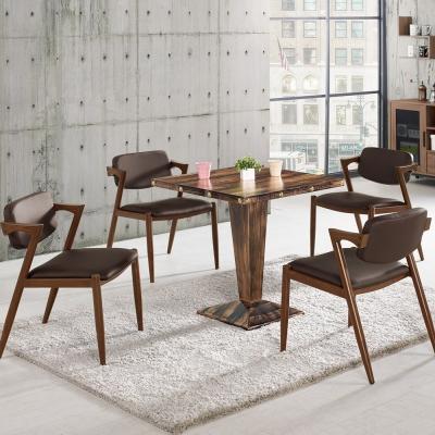 Boden-泰斯2.3尺工業風方型桌椅組(一桌四椅)-70x70x76cm