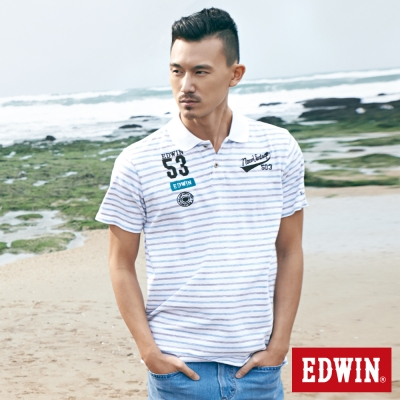 EDWIN POLO衫 隱約條紋繡花POLO衫-男-深咖啡