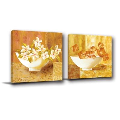 橙品油畫布-兩聯油畫掛畫典雅風無框藝術掛飾-簡約40x40cm