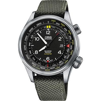 ORIS ProPliot Altimeter高度儀飛行錶/軍綠帆布-47mm