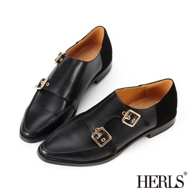 HERLS-內真皮-率性釦環拼接樂福鞋-黑色