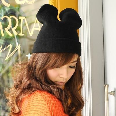 Aimee-Toff-韓版可愛個性貓咪耳造型針織帽-黑