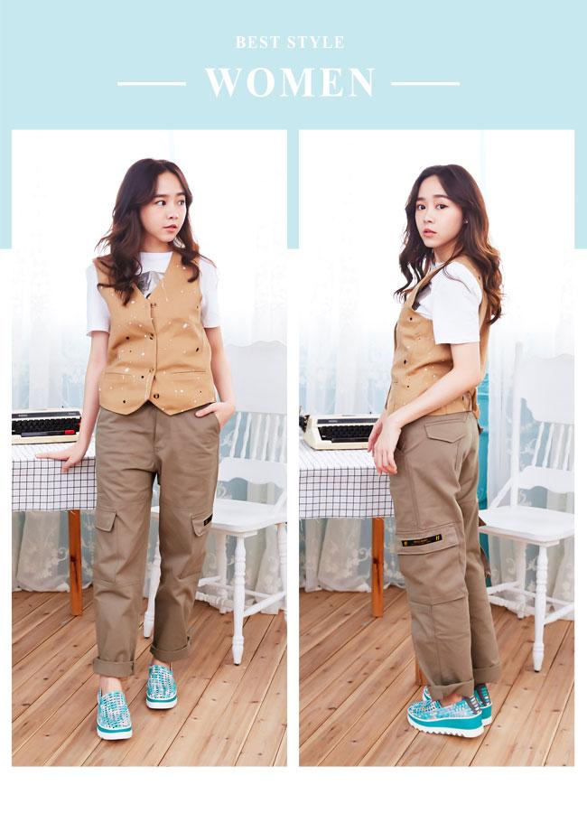 Hong Wa - 運動休閒透氣械型增高編織布鞋 - 綠