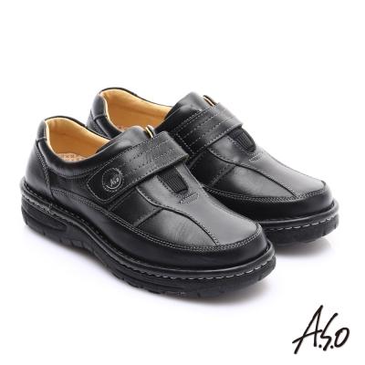 A.S.O 抗震雙核心 蠟感牛皮雙縫線魔鬼氈奈米休閒皮鞋 黑色