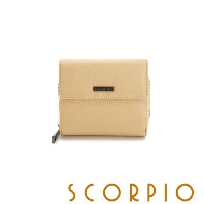 SCORPIO 類真皮超纖系列零錢夾層設計短夾 鵝黃色