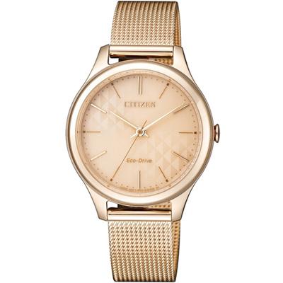 CITIZEN 星辰 美麗風情米蘭風時尚腕錶(EM0503-83X)-玫瑰金色/32mm
