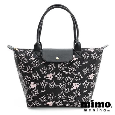 MIMO-心心相印-滿版圖案側背包-黑粉-大