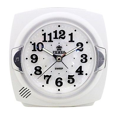 POWER霸王鐘錶-貝殼面板小鬧鐘-時尚白PM666W-11.5CM