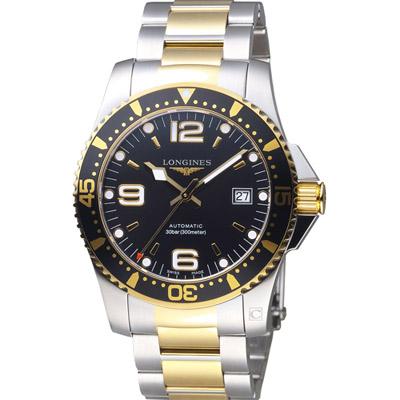 LONGINES 浪琴 深海征服者300米潛水機械錶-黑+金色/41mm