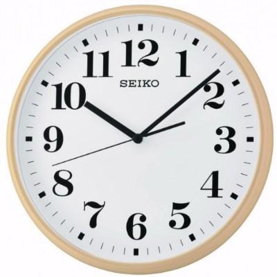 SEIKO 日本精工 數字 滑動式秒針 掛鐘 時鐘(QXA697A)-白-木紋框/35cm