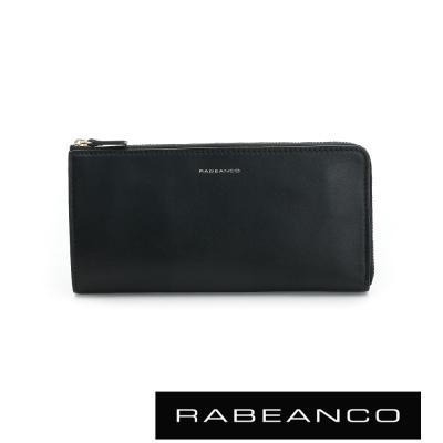 RABEANCO-迷時尚系列撞色多格層拉鍊長夾-黑