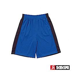 SASAKI 雙面穿長效性吸排籃球短褲-男-亮藍/黑