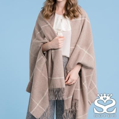 SOFER 英倫格紋100%羊毛保暖袖口披肩/圍巾 - 經典駝