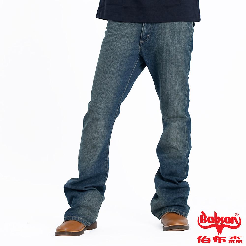 【BOBSON】男款低腰刺繡小喇叭牛仔褲(藍53)