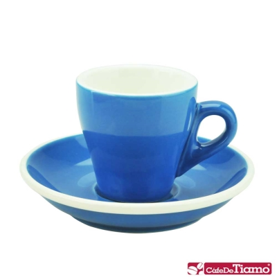 Tiamo 17號鬱金香濃縮杯盤組<b>5</b>客 90cc-藍色(HG0850B)