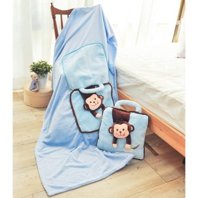 亞曼達Amanda 立體卡通兩用法萊絨抱枕毯子-淘氣猴(藍)