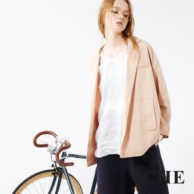 ICHE-衣哲-棉麻翻領西裝外套