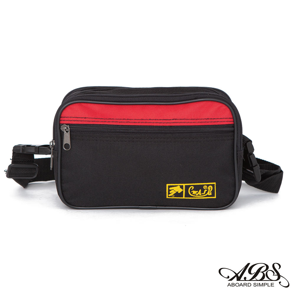 ABS愛貝斯 台灣製造 輕量防潑水旅行兩用式腰包 側背包(黑/紅)704