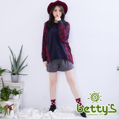betty's貝蒂思 毛呢紋路腰間綁結高腰短褲(灰色)