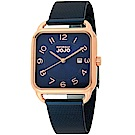 NATURALLY JOJO 數日子美好時光方型復刻米蘭帶錶-深藍/32mm