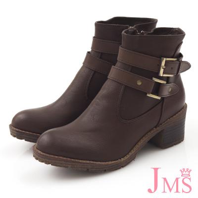 JMS-韓版帥氣雙扣環工程短靴-咖啡色