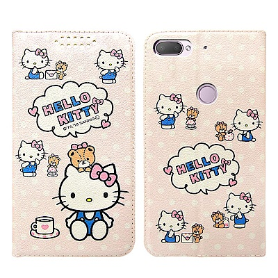 Hello Kitty貓 HTC Desire 12+ 粉嫩系列彩繪磁力皮套(小...