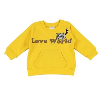 愛的世界 羅紋領浣熊大口袋束口長袖上衣-黃/1~4歲