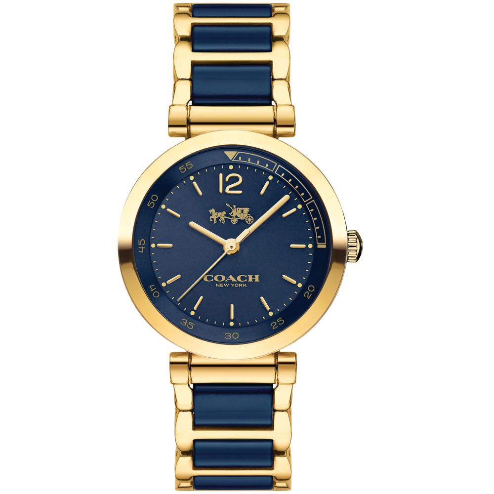 COACH浪漫紐約馬車圖騰陶瓷腕錶14502462-藍金30mm