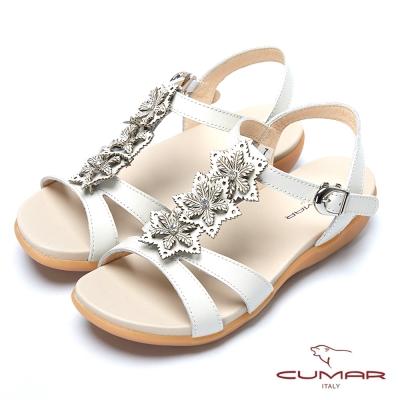 CUMAR台灣製造 T字美腳舒適平底涼鞋-米