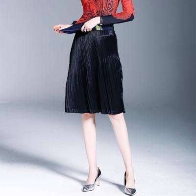 顯瘦時尚黑色壓摺及膝裙-糖潮
