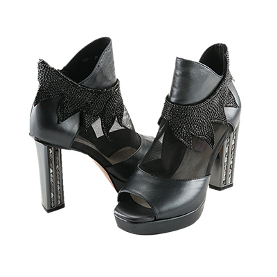 Robinlo-Co-全真牛皮鑲鑽網紗粗跟鞋-黑