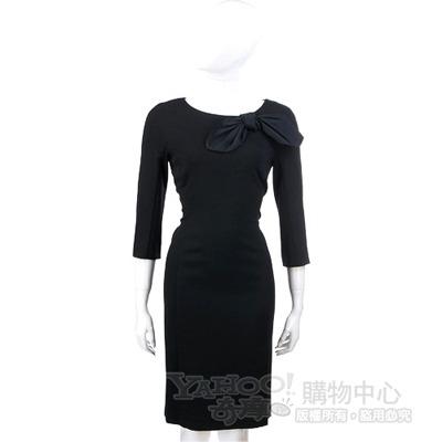 MOSCHINO 黑色蝴蝶結飾七分袖洋裝