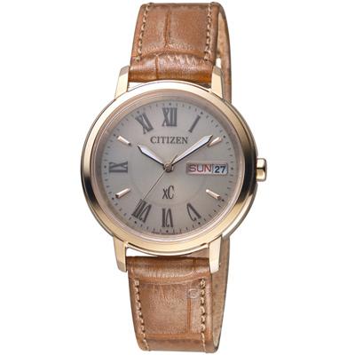 CITIZEN星辰xC系列自信魅力光動能腕錶-32.5mm/棕色