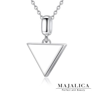 Majalica時尚三角型項鍊925純銀墜銀色女鍊