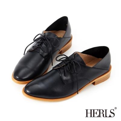 HERLS 全真皮 職人穿搭兩穿德比牛津鞋-黑色