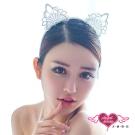 貓耳髮箍 魅惑喵喵 日系蕾絲可愛動物道具配件(白F) AngelHoney天使霓裳